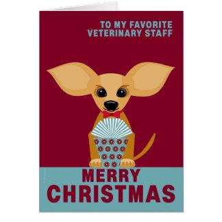 Merry Christmas Veterinary Staff Cute Chihuahua Card