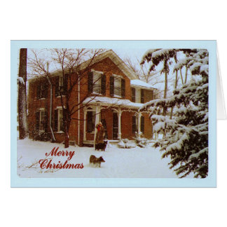Merry Christmas Victorian House in Snow Card