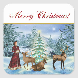 Merry Christmas Victorian Winter Scene Stickers