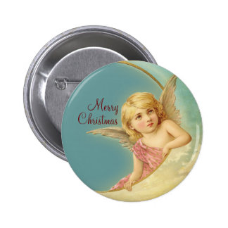 Merry Christmas Vintage Angel CC0252 Round Button