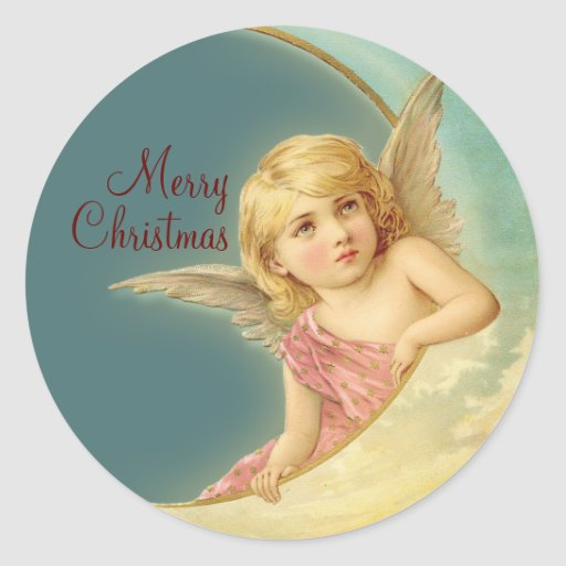 Merry Christmas Vintage Angel CC0253 Round Sticker
