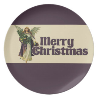 Merry Christmas Vintage Angel Dinner Plate