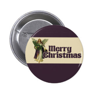 Merry Christmas Vintage Angel Pinback Button