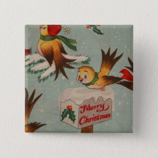 Merry Christmas Vintage Birds Pinback Button