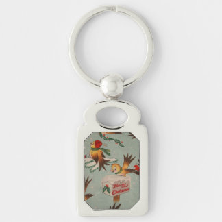 Merry Christmas Vintage Birds Silver-Colored Rectangular Metal Keychain
