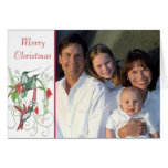 Merry Christmas Vintage Birds Your Family Photo Greeting Cards