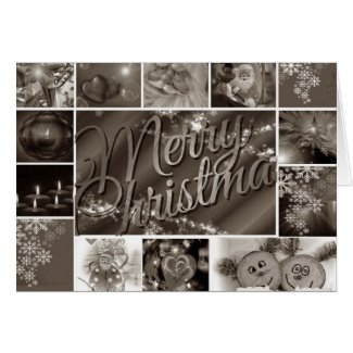 Merry Christmas Vintage Black And White Card