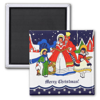 Merry Christmas. Vintage Carolers Gift Magnet.