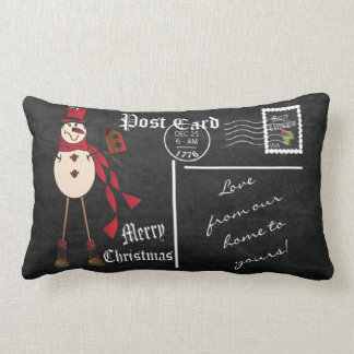 Merry Christmas Vintage Chalkboard Snowman Pillow