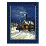 Merry Christmas. Vintage Christmas Church Postcard