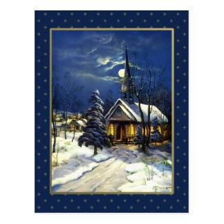 Merry Christmas Vintage Christmas Church Postcard