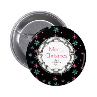 Merry Christmas Vintage Circle With Snowflakes Button