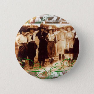 Merry Christmas Vintage Cowgirl Group Photograph Button