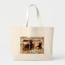 Merry Christmas Vintage Cowgirl Group Photograph Large Tote Bag