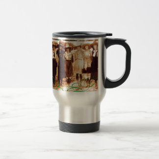 Merry Christmas Vintage Cowgirl Group Photograph Travel Mug