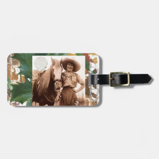 Merry Christmas Vintage Cowgirl Horse Bag Tag