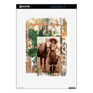 Merry Christmas Vintage Cowgirl Horse iPad 2 Skins