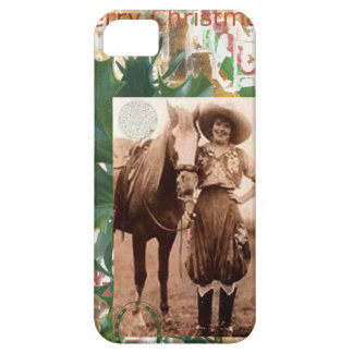 Merry Christmas Vintage Cowgirl Horse iPhone SE/5/5s Case