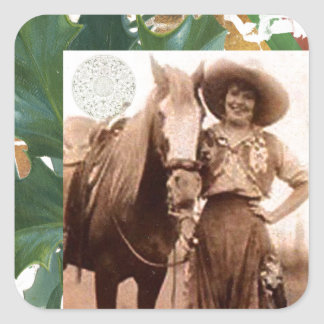 Merry Christmas Vintage Cowgirl Horse Square Sticker