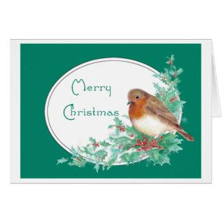 Merry Christmas Vintage English Robin Watercolor Card
