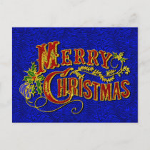 Merry Christmas Vintage Foil Look Holiday Postcard