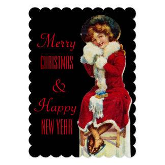 Merry Christmas Vintage Girl dressed in Santa coat Card