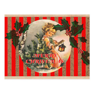 Merry Christmas Vintage Girl Tree and Lantern Postcard