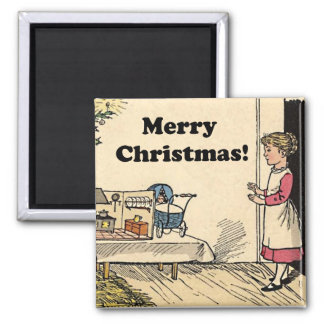 Merry Christmas Vintage Girl with Toys Drawing Magnet