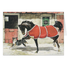 Merry Christmas Vintage Horse And Dog Card at Zazzle