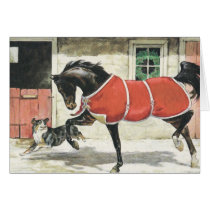 Merry Christmas Vintage Horse and Dog Card