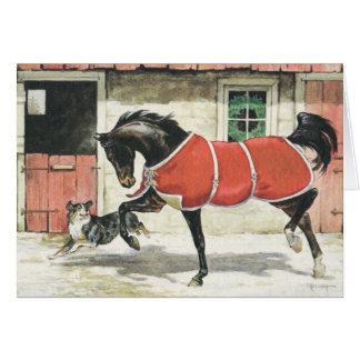 Merry Christmas Vintage Horse and Dog Greeting Card