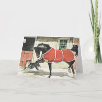 Merry Christmas Vintage Horse and Dog Holiday Card