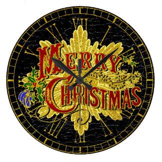 Merry Christmas Vintage Look Large Clock