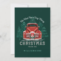 Merry Christmas Vintage Red Truck Christmas Tree Holiday Card