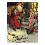 Merry Christmas, Vintage, Santa with Angels Postcard