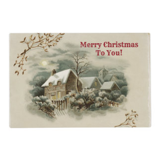 Merry Christmas Vintage Town Placemat