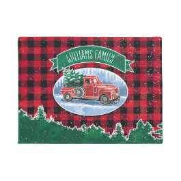 Merry Christmas Vintage Truck Add Name Doormat