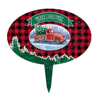 Merry Christmas Vintage Truck Cake Topper