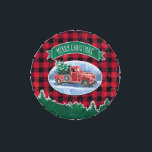 """Merry Christmas Vintage Truck Jelly Belly Candy Tin<br><div class=""""desc"""">This holiday tin features a winter scene of a classic red pickup truck driving through the snow, a fresh Christmas tree in the back. A wreath decorates the side of the truck and a green banner above reads &quot;Merry Christmas&quot;. Background is a red and black buffalo check pattern with a...</div>"""