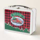 """Merry Christmas Vintage Truck Metal Lunch Box<br><div class=""""desc"""">This holiday design features a winter scene of a classic red pickup truck driving through the snow,  a fresh Christmas tree in the back.  A wreath decorates the side of the truck and a green banner above reads &quot;Merry Christmas&quot;.  Background is a red and black buffalo check pattern.</div>"""