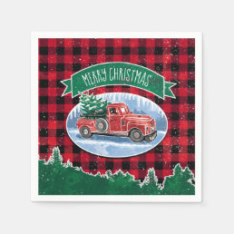 Merry Christmas Vintage Truck Napkin
