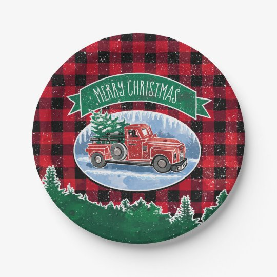 Christmas Paper Plates.Merry Christmas Vintage Truck Paper Plate