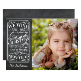 Merry Christmas Vintage Typography Holiday Photo Card