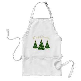 Merry Christmas w/ 3 New Style Christmas Trees Adult Apron