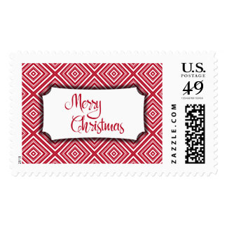 Merry Christmas w/ Badge Over Red & White Diamonds Postage