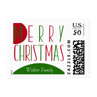 Merry Christmas w/ Big Red & Green Circles Postage