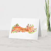Merry Christmas, watercolor Christmas banner Holiday Card
