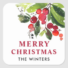 Merry Christmas | Watercolor Christmas Florals Square Sticker at Zazzle