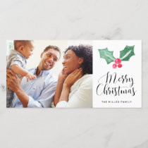 Merry Christmas Watercolor Holly Holiday Photo
