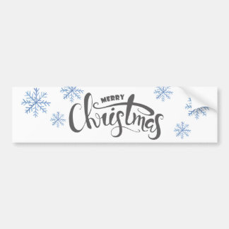 Merry Christmas Watercolor illustration Bumper Sticker